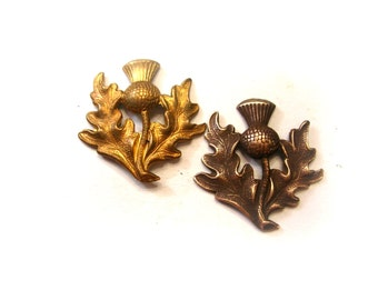 Brass Scottish Thistles Stampings - Scottish Thistle Flower Findings - Brass Stampings - Brass Findings