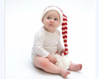 Red and White Stocking Hat, Baby Hat, Elf Hat, Photo Prop, Crochet Hat