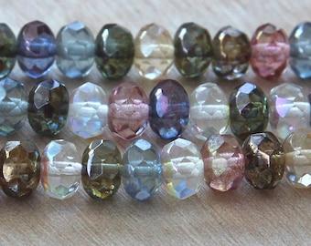 Czech Glass Rondelle Beads, Multicolor Luster AB, 9x6mm - 25 pcs - e10-96a