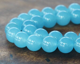 Dyed Jade Beads, Semi-transparent Light Blue, 10mm Round - 15 inch strand - eSJR-B29-10