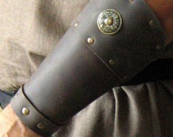 Medieval Celtic Viking Barbarian Bracers with Concho