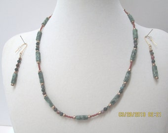 Ching Hai Jade necklace earrings with ceramic and agate beads