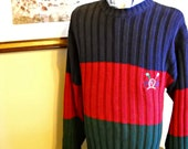 Tommy Hilfiger Cotton Crewneck Sweater Color Block Sz L