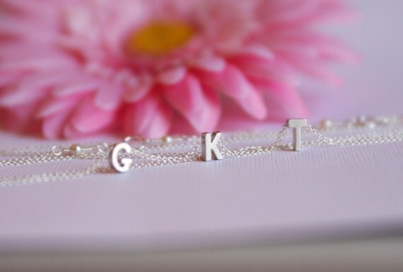 initial necklace, monogram necklace, bridesmaid gift