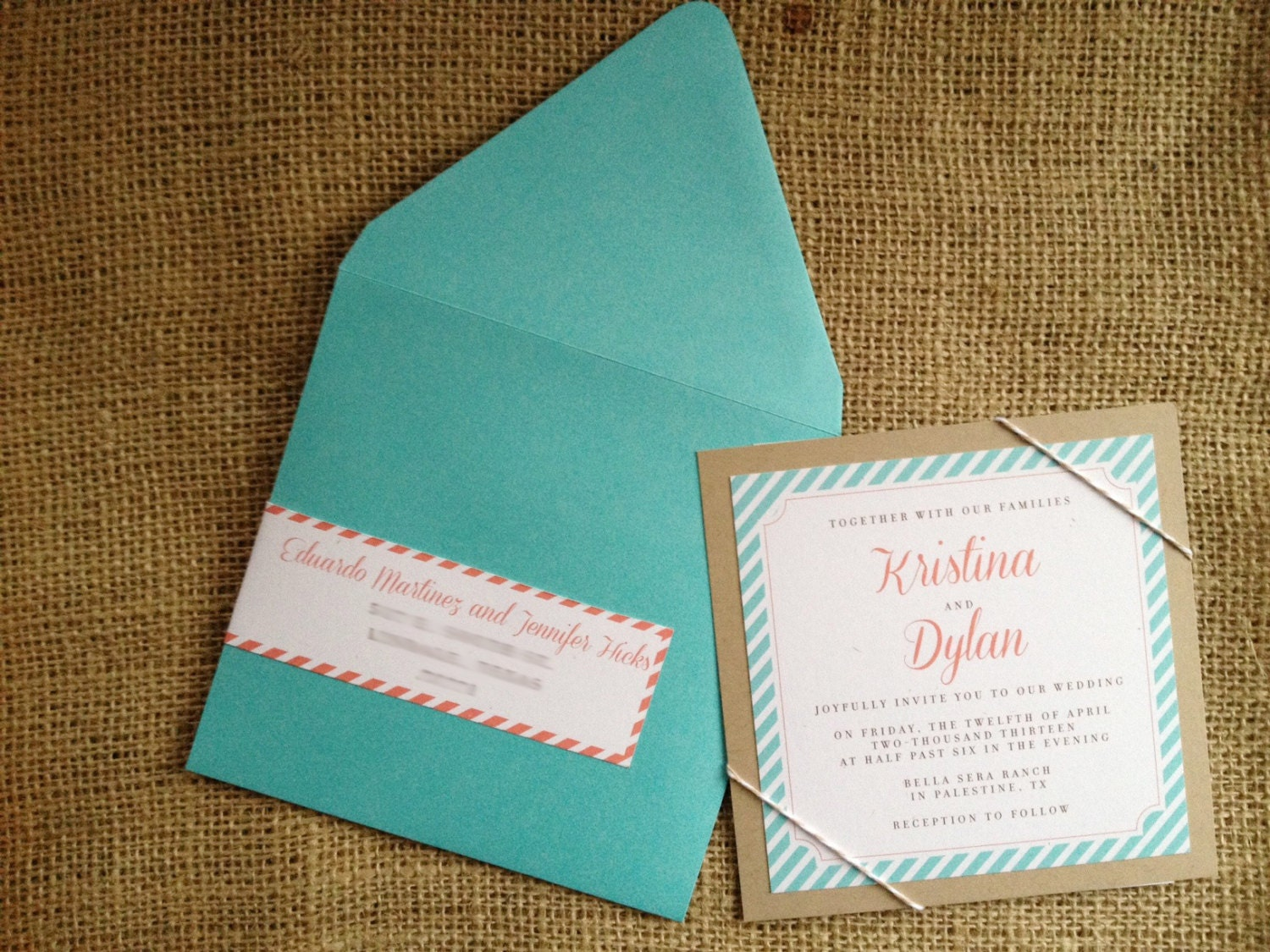 Blue And Coral Wedding Invitations: Wedding Invitation Stripes Tiffany Blue Aqua Coral By