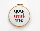 You and Me- Cross Stitch, Embroidery, Hand Made, Weeding Gift, Anniversary Gift, Gift for Her, Valentine's Day, Bridal Gift, Home Decor