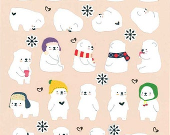 Korean Scrapbook Die-cut Stickers, Cozy polar bears V1 (STNO05022)