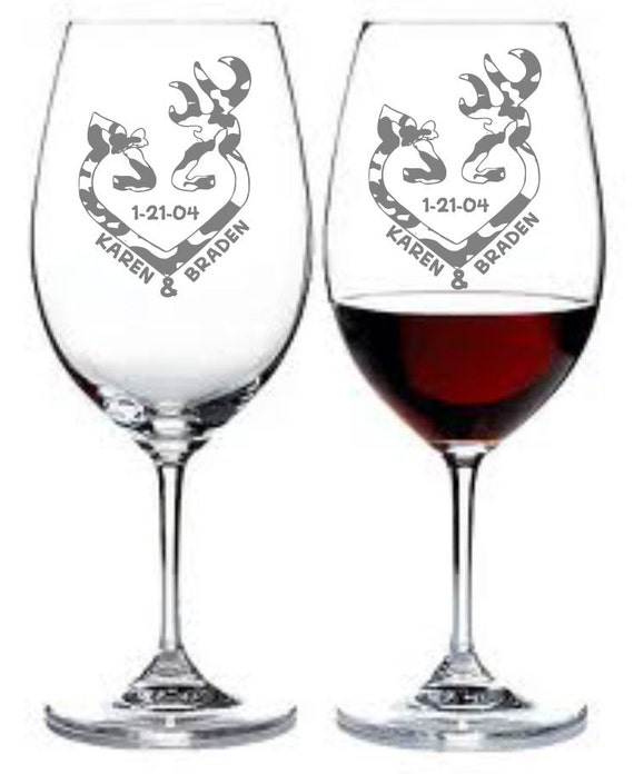 Items Similar To Etched Wine Glass Set Of 2 Deer Doe