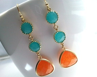 Turquoise earrings, Orange Earrings, Mint Earrings, Orange and Mint Gold Chandelier earrings, Orange Dangle,Mother's Day, bridesmaid gifts
