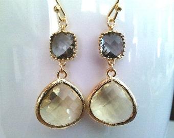 Lemon and Gray Wedding Earrings ,Drop, Dangle, Yellow Earrings, Bridal earrings Bridesmaid Gift Bridesmaid Jewelry, GIFT