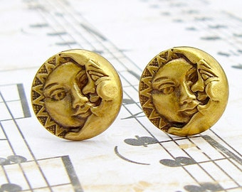 Celestial - antique brass post earrings