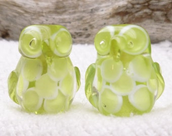 Adorable, Feathered Translucent Peridot Green Lampwork Owl Beads (2)