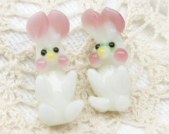 Cheeky White Easter Bunny Lampwork Beads (2)