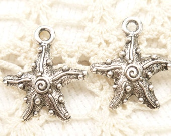 Swirl and Dots Starfish Charms (6) - S142