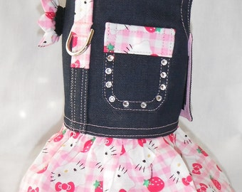 Dog Harness-Hello Kitty With Swarovski Crystals - Size  XXS, XS, S, M