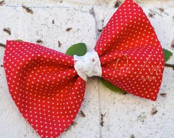 Red & White Polka Dot Hair Bow - Miss