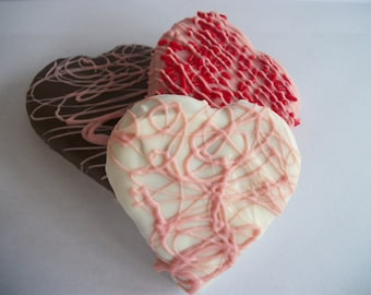 Wedding Favor  Brownie Hearts 3 inch Brownies Coated with Chocolate, Pink, White, Chocolate 12 Hand Made Hearts