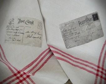 Towel, dish cloth, antique linen, handwoven, motive ephemera