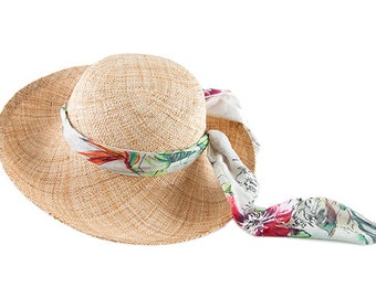 Wide Brim Straw hat , Womens Straw Hat , Wings W