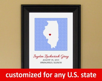 Baby Shower Gift - Custom Birth Announcement Print - Nursery Art - Personalized Illinois Map - 11 x 14