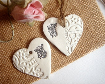 10 Clay Hearts Monogram,Wedding  Favor Tags,Wedding Clay Tag