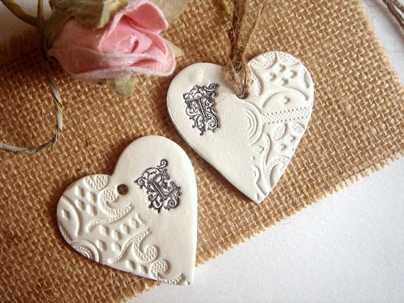 10 clay hearts monogramwedding favor tagswedding clay tag