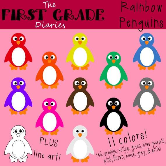 Rainbow penguin digital clip art set buy 2 get 1 free for Buy digital art online