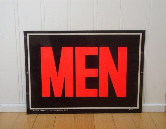 VINTAGE MEN SIGN Red Black Tin Bathroom Hy Ko By