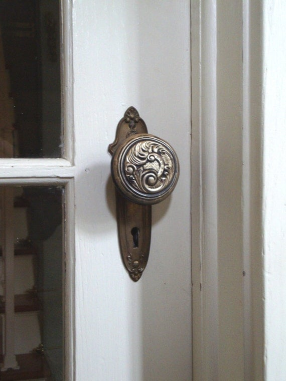 Vintage Doorknob Cover Rubber Stopper Vinyl Scrolly