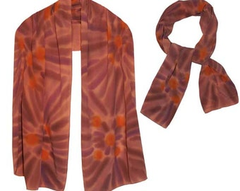 Hand-painted Crepe de China 100%  Silk Scarf