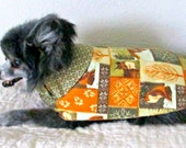 Little Dog's Coat with Notched Collar - Gold, Cream & Grey Flannel Shih Tzu Yorkie
