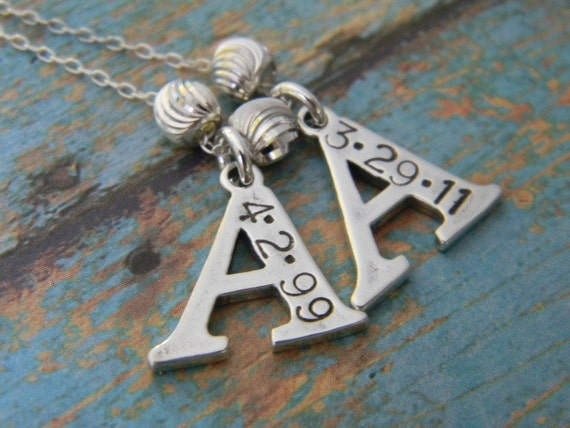 """Large Solid Sterling Silver 2, Two Letter Initial Charm Hand Stamped Custom Made Personalized Monogram Mother Necklace with Birth Date, 3/4"""""""