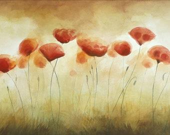 Summertime, Song of Poppies Watercolor, Original Watercolor Painting by Dorota Polland, Aquarelle, Original Painting, Red Flowers