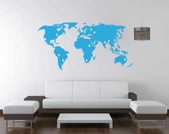 World map decal. Wall Decal. Wall Sticker.