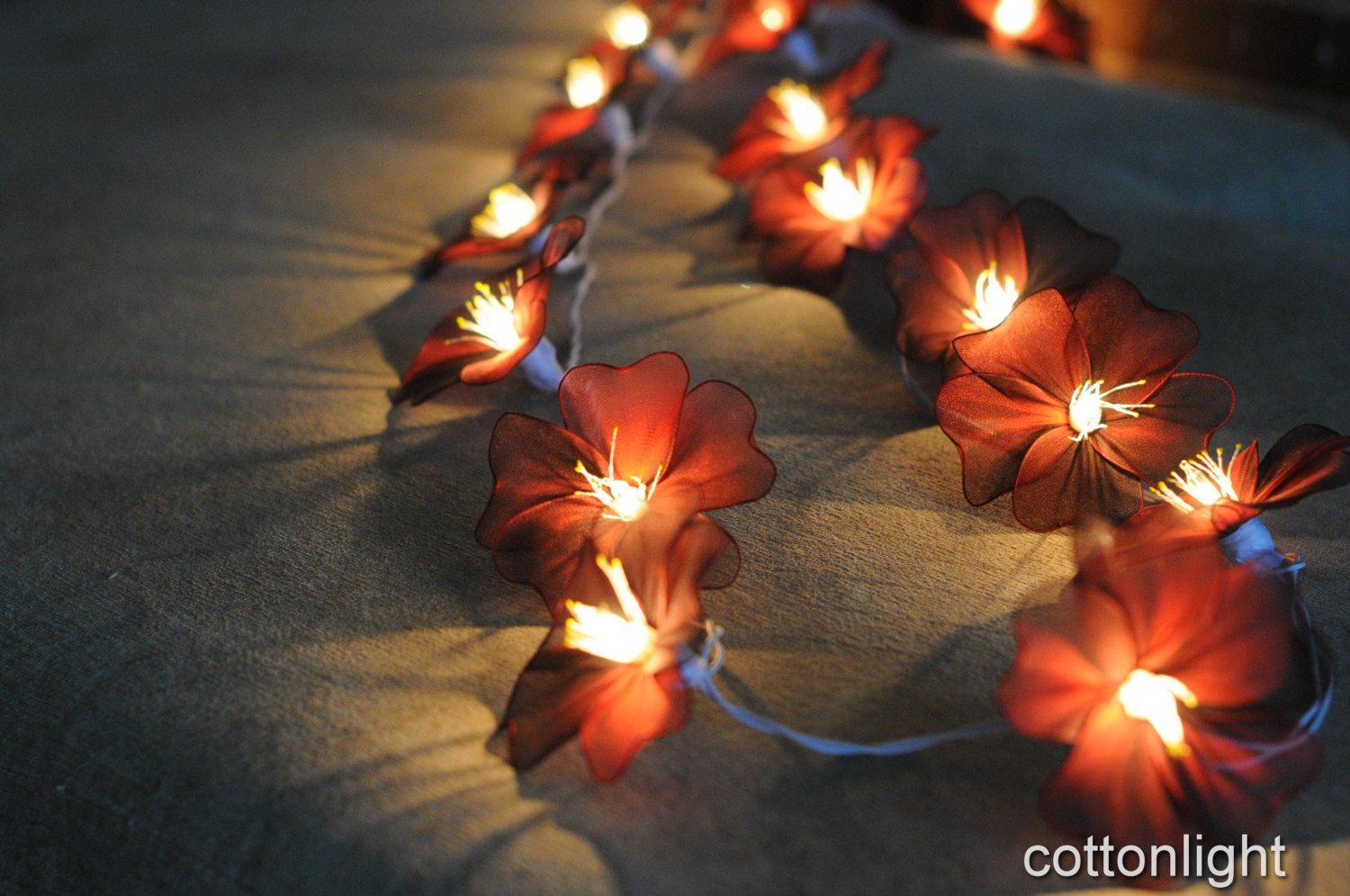 Argos Flower String Lights : 20 handmade flower string light home indoor party by cottonlight