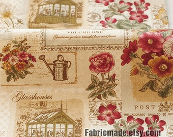 Vintage Shabby Cotton Linen Fabric/ Red Flower Garden House on Beige Linen/ Home Decor Fabric/ Vintage Looking Fabric - 1/2 Yard