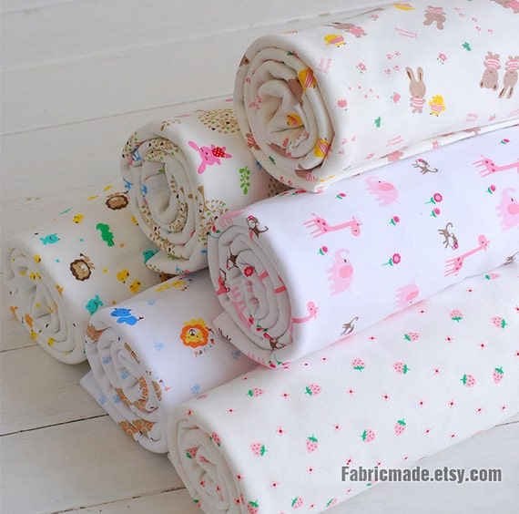 Baby fabric wide cotton knit fabric baby cotton by fabricmade for Children s clothing fabric by the yard