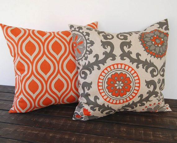 Throw Pillow Case 20 X 20 : Pillow covers Pair 20 x 20 orange and oatmeal by ThePillowPeople