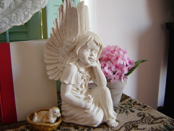 reduced vintage angel statuette home decor yard by