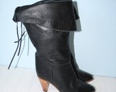 Vintage Black Leather Boots / Boho Campus PIRATE Boots / Bohemian Boots / Buskens Made in Uruguay / Size 6 USA  3 1/2 UK  36 Euro