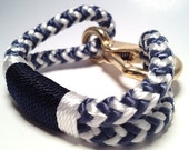 Blue & White Nautical Rope Bracelet with Navy  and White Wrap and a Bronze Clasp