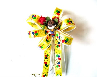 Boy's birthday bow, Gift for a boy, Gift wrapping bow, Birthday balloon bow, Birthday party bow, Cowboy gift bow, Mini gift bow (HB41)