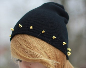 SALE -20% Studded spiked BEANIE Black