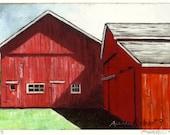 Ruby Red Rustic Barn Print, Giclee, Fine Art Print, Red Barn, Barn Print
