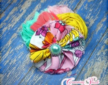 Baby Girl, Hair Accessory, Pink, Coral, Yellow, Mint Headband, Spring, Infant, Toddler, Baby Hair Bow, Fabric Flowers, Floral Brooch