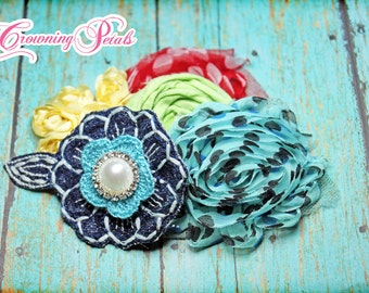Aqua, Navy, Red, Yellow Headband, Girl's Hair Accessories, Fabric Flower Brooch, Baby Girl Hair Bow, Turquoise Headband