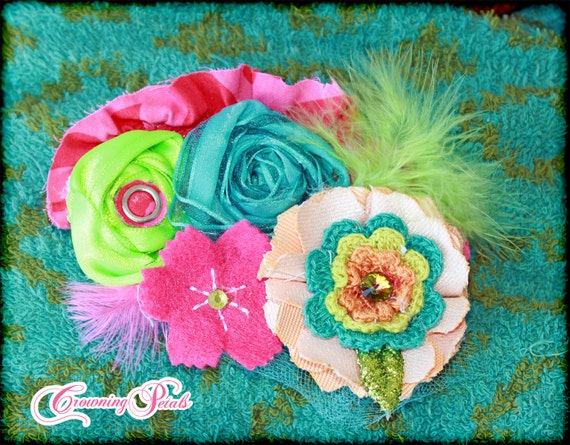 Tropical Flower Headband, Turquoise, Hot Pink, Orange, Lime, Aqua Headband, Hair Accessories, Clip, Fabric Flowers, Baby Girl Hair Bow