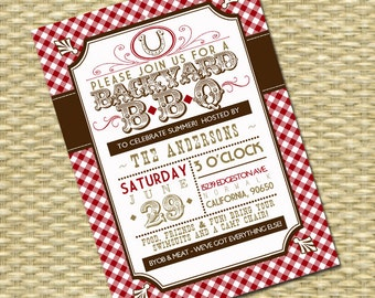 Summer BBQ Bridal Shower/Wedding or Birthday Invitation - Rustic Country Western - Typography Poster -