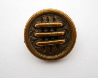 Antique-finish copper-color metal button with raised bars, small size