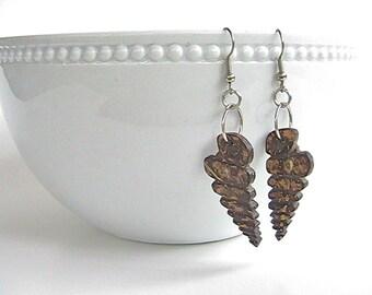 Coconut shell dangle earrings, tropical island beach seashell earrings, wearable art